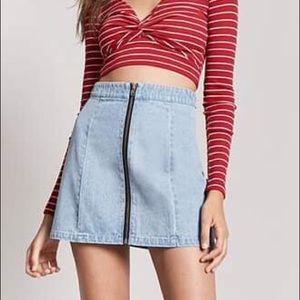 forever21 Zip-Front Denim Mini Skirt